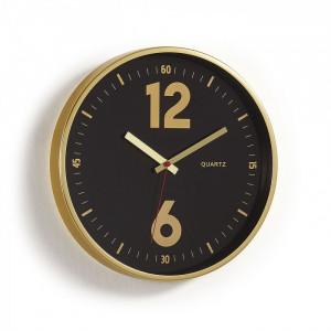 Ceas rotund din metal negru si auriu 35 cm Menthe La Forma