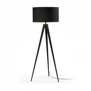 Lampadar din metal cu abajur textil negru Uzagi La Forma