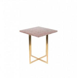 Masa cafea patrata cu blat terrazzo rosu 40x40 cm Luigi Square Zuiver