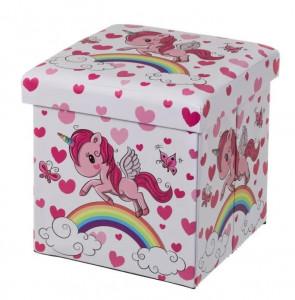 Taburet patrat roz pentru copii din MDF 38x38 cm Unicorn Ale Unimasa