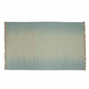Covor albastru/ecru din lana 160x230 cm Luni Zago