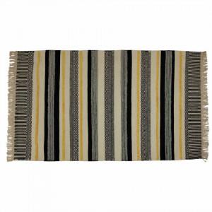 Covor negru/galben din lana si viscoza 160x230 cm Yamu Zago