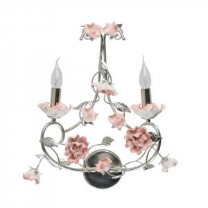 Aplica argintie/roz din ceramica si metal cu 2 becuri Flora Sicily MW Glasberg
