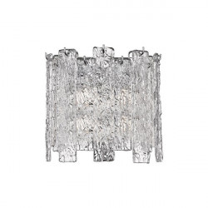 Aplica argintie/transparenta din metal si sticla cu 2 becuri Froze Zuma Line