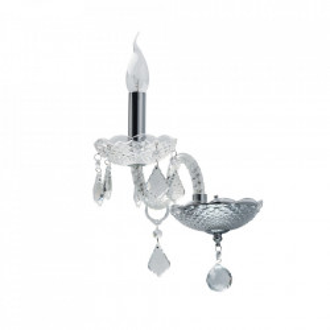 Aplica argintie/transparenta din sticla si metal Selena MW Glasberg