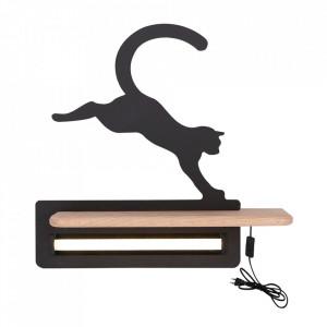 Aplica cu raft neagra/maro din lemn de fag si MDF cu LED Cat Switch Candellux