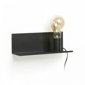 Aplica neagra cu raft metalic 35 cm Hannah Kave Home