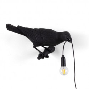 Aplica neagra din rasina pentru exterior Bird Looking Right Seletti