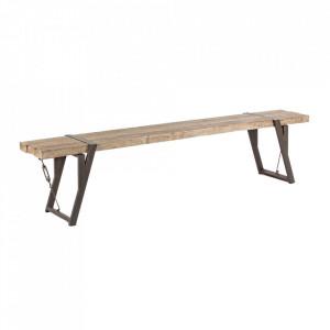 Bancheta maro din lemn de brad si otel 200 cm Blocks Bizzotto