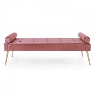 Bancheta roz din catifea si lemn 185 cm Gjsel Bizzotto