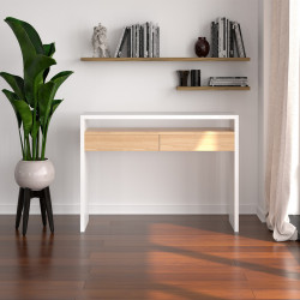 Birou alb/maro din lemn si MDF 36x100 cm Console Woodman