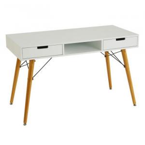 Birou alb/maro din lemn si MDF 55x120 cm Marissa Unimasa