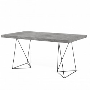 Birou gri din panouri si metal 90x160 cm Multi Concrete Black TemaHome