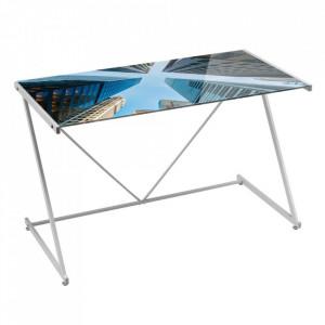 Birou multicolor din sticla si metal 60x120 cm Skys Unimasa