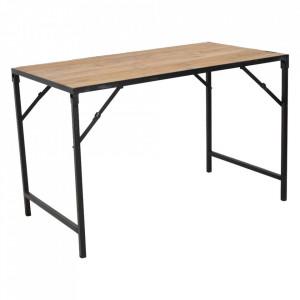 Birou pliabil maro/negru din lemn de tec si metal 65x120 cm Elements Raw Materials