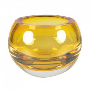 Bol decorativ maro chihlimbar din sticla 19,5 cm Bullit Versmissen