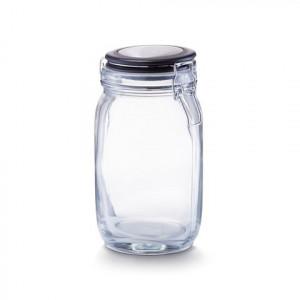 Borcan cu capac transparent/negru din sticla 1,5 L Lou Zeller