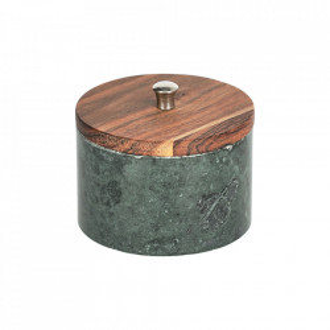 Borcan cu capac verde/maro din marmura si lemn de salcam 250 ml Karla Kave Home