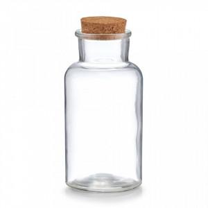 Borcan transparent/maro cu capac din sticla si pluta 500 ml Spice Jar Cork Half Zeller