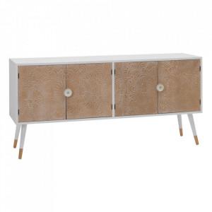 Bufet inferior maro/alb din lemn de pin si MDF 120 cm Lorby Ixia