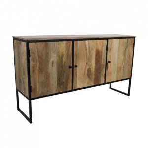 Bufet inferior maro/negru din lemn de mango si fier 150 cm Firmont HSM Collection