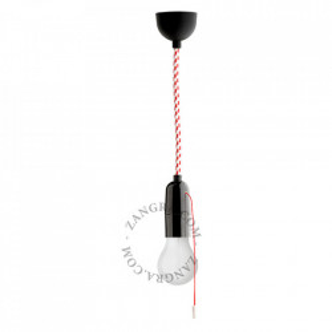 Cablu alb/rosu din PVC si textil 1 m Ryan Dots Zangra