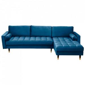 Canapea albastra cu colt din catifea si lemn 260 cm Cozy II Invicta Interior