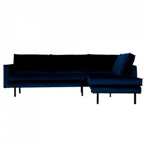 Canapea albastru inchis din catifea cu colt 266 cm Rodeo Right Be Pure Home