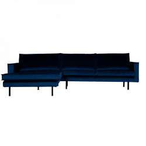 Canapea albastru inchis din poliester si metal cu colt pentru 3 persoane Rodeo Left Be Pure Home