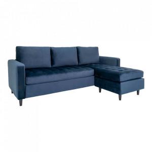 Canapea cu colt albastra din catifea si lemn de fag 219 cm Firenze Right House Nordic