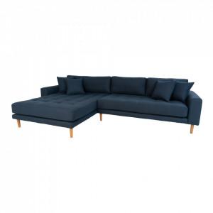 Canapea cu colt albastru inchis din poliester 290 cm Lido Left House Nordic