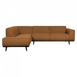 Canapea cu colt bej unt/neagra din poliester si lemn 274 cm Statement Left Boucle Be Pure Home