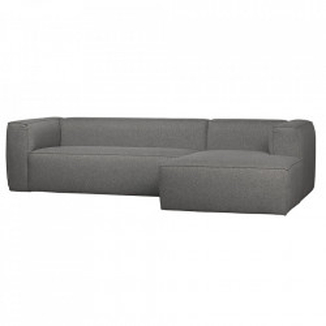 Canapea cu colt gri din poliester si bumbac 305 cm Bean Right Woood