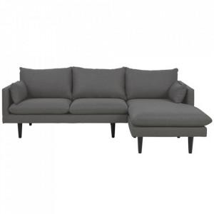 Canapea cu colt gri inchis/neagra din textil si lemn pentru 2 persoane Sunderland Right Actona Company