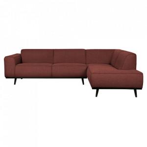 Canapea cu colt maro castana/neagra din poliester si lemn 274 cm Statement Right Boucle Be Pure Home