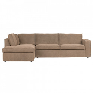 Canapea cu colt maro din poliester 283 cm Freddie Left Woood