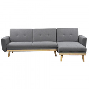 Canapea extensibila cu colt gri din poliester si lemn 260 cm Skagen Invicta Interior