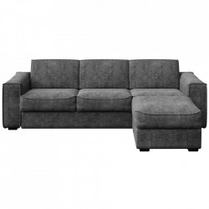 Canapea extensibila cu colt gri inchis din poliester si lemn pentru 4 persoane Munro Mesonica