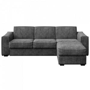 Canapea extensibila cu colt gri inchis din poliester si lemn pentru 4 persoane Munro Big Mesonica