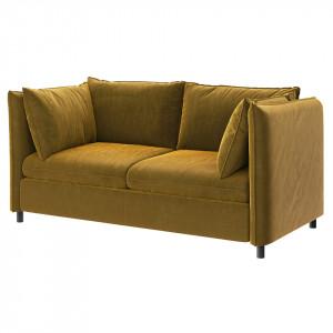Canapea extensibila galben miere din poliester si lemn pentru 2 persoane Enzo Mesonica