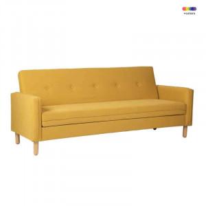 Canapea extensibila galbena din lemn de pin si poliester pentru 2 persoane Delhi Yellow Somcasa