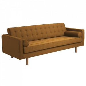 Canapea extensibila galbena din poliester si lemn pentru 3 persoane Topic Wood Honey Custom Form