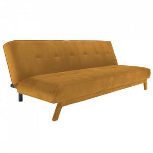 Canapea extensibila galbena din poliester si lemn pentru 3 persoane Modes Custom Form