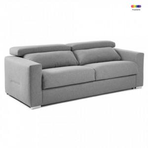 Canapea extensibila gri deschis din textil si metal 224 cm Queen Visco La Forma