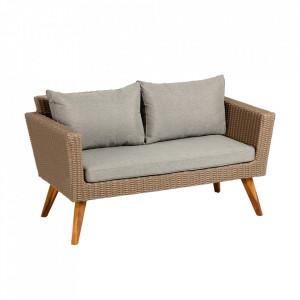 Canapea exterior din lemn de salcam si otel pentru 2 persoane Sumie La Forma