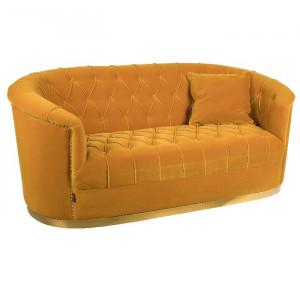 Canapea galbena 2 persoane din placaj si textil Too Pretty To Sit Ochre Bold Monkey