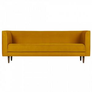 Canapea galbena din catifea pentru 3 persoane Studio Ochre Woood