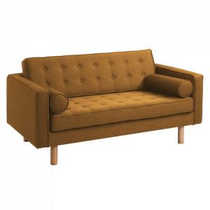 Canapea galbena din poliester si lemn pentru 2 persoane Topic Wood Honey Custom Form