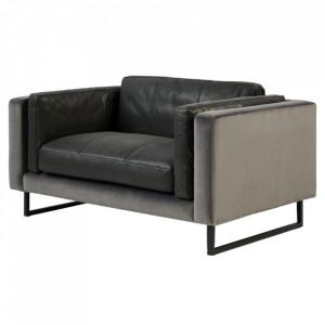 Canapea gri carbune din piele si fier 145 cm Biltmore Riviera Maison