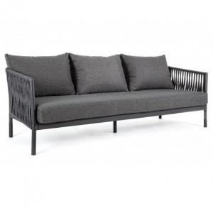 Canapea gri carbune din poliester si aluminiu pentru exterior 220 cm Florencia Bizzotto